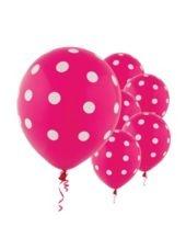 $2.99 for 6 Latex Bright Pink Polka Dot Balloons-Party City