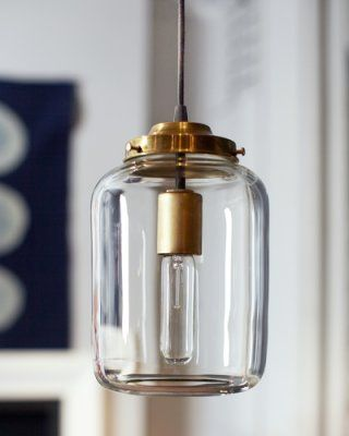 hand-blown glass pendant light. Possibility for upstairs hall
