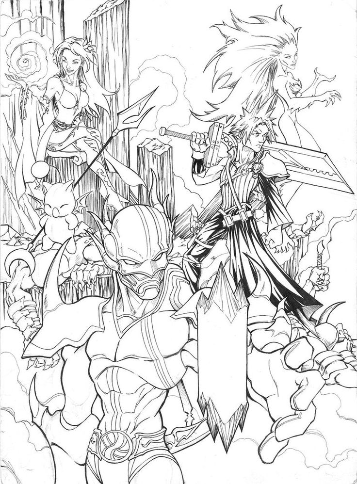 Final fantasy vii coloring pages coloring page for Final fantasy coloring pages