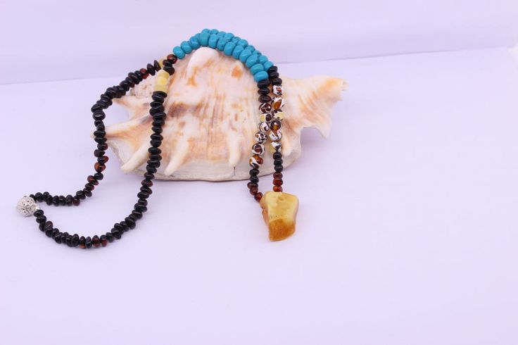 Amber Bead Necklace, Natural gemstone jewelry, Womens necklace, Natural Amber, Turquoise bead jewelry, Birthday gift ideas, Chakra necklace by SilverEarthJewellery on Etsy