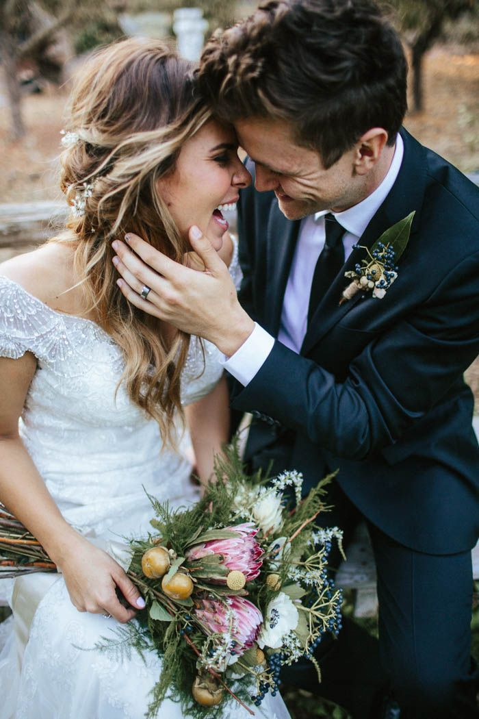We can tell the couple from this Oxnard garden wedding is head over heels for each other | Image by  Hanna Photography