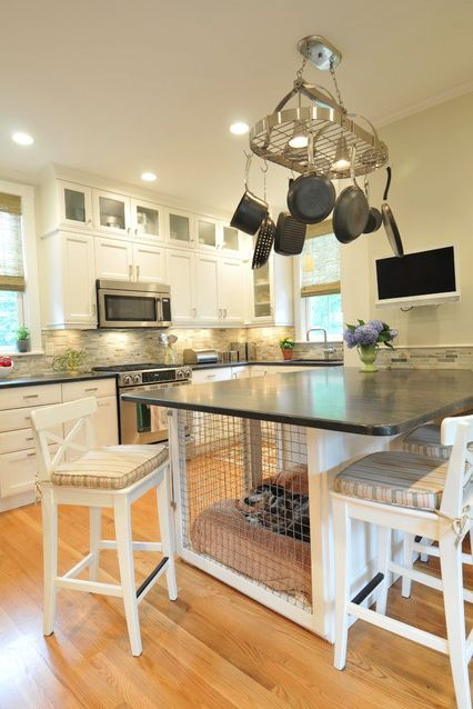 dog crate kitchen island, taller with bar stools.. This could work for our Dane puppy while we train her