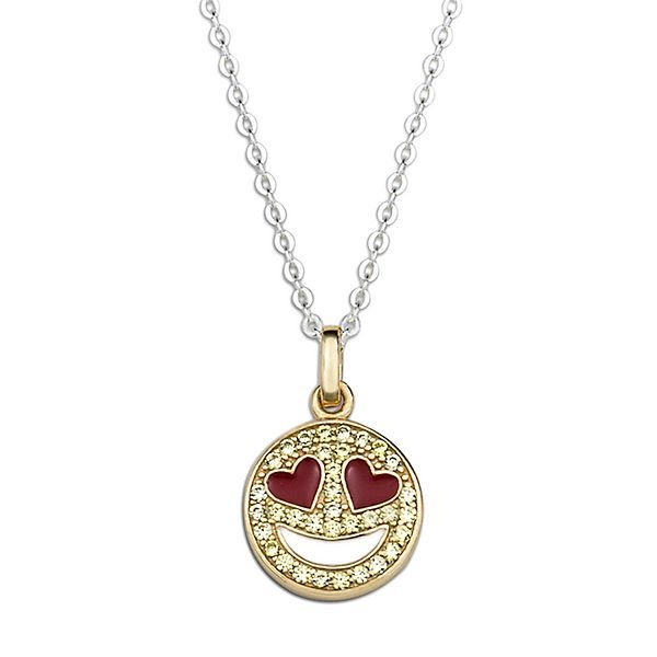Simulated Diamond Emoji Pendant in 18K Yellow Gold over Sterling Silver
