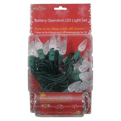 35ct White LED C6 Battery Operated String Lights
