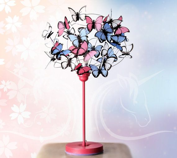 Table lamp with pink butterflies-Butterfly by AtLastCraftsbyMatchD