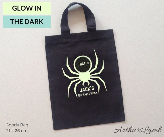 Will you be celebrating your little ones first Halloween?? With this personalised Glow in the Dark Spider Halloween Trick or Treat Bag your little one is sure to stand out, and why not order one for yourself!! So whether you are looking for a first Halloween gift, Halloween Treat Bags or a cute keepsake, this goody bag personalized with any name will be a much loved addition to the spooky day!!  When ordering, please note the name required in Comments to Seller box during checkout…