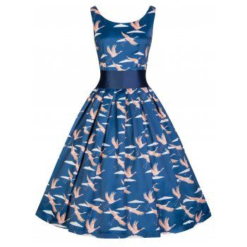 'Lana' Vintage 50's Inspired Bird Print Party Dress With Waspie Waist Belt  - LindyBop