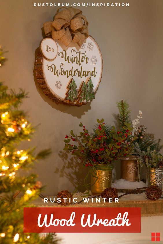 This DIY Christmas Wreath is perfect for the front door or mantel. Learn how to make this rustic white wreath with a burlap bow that will look great in your farmhouse space. The wood slice wreath is so simple to make, using Rust-Oleum Ultra Matte Chalked Paint and Specialty Glitter Spray Paint, and is an easy DIY for the holidays,