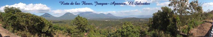Ruta de las Flores. Vista desde mirador en carretera que conecta la ciudad de Juayua y Apaneca, Sonsonate-Ahuachapán. Al fondo, el complejo volcánico de Izalco-Cerro Verde-Ilamatepec.