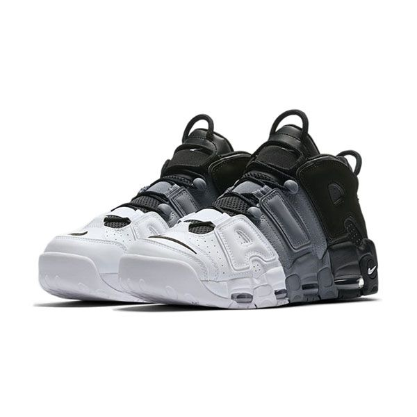 buy online 6eb23 7106f Nike air more uptempo tri-color sneakers men s basketball shoes black white  grey