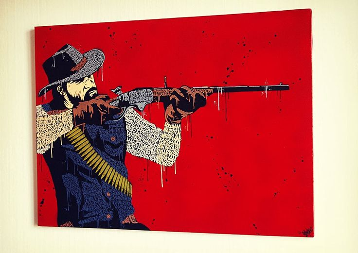 "Toile 73x54cm, réalisé au posca, avec les noms des personnages du jeu ""Red Dead Redemption"". Fait main, exemplaire unique.73x54cm canvas, handmade, with posca. You can see all the character's name of ""Red Dead Redemption""."