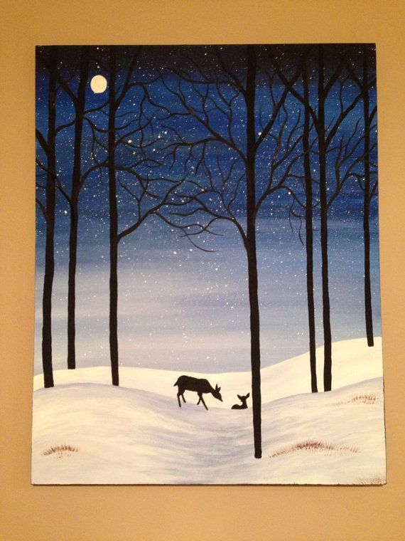 winter painting,snow painting,deer painting,blue painting,snow scene.tree painting,28x22