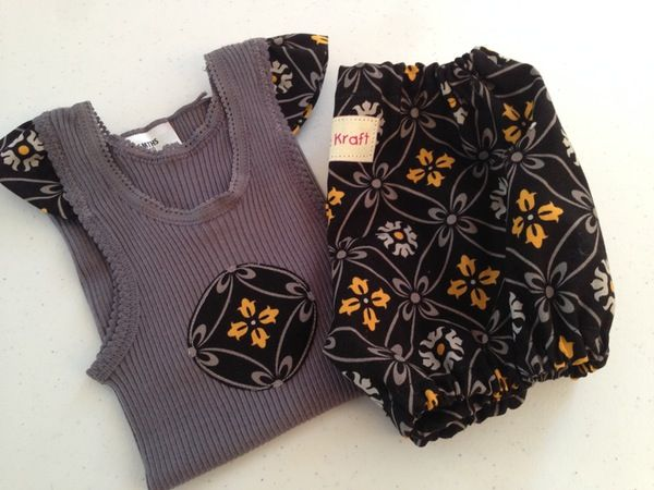 Image of Black and grey singlet and bloomers set