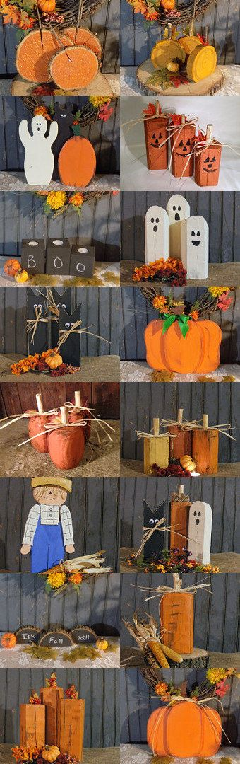 Wood Pumpkins Rustic Halloween Decor Reclaimed by GFTWoodcraft
