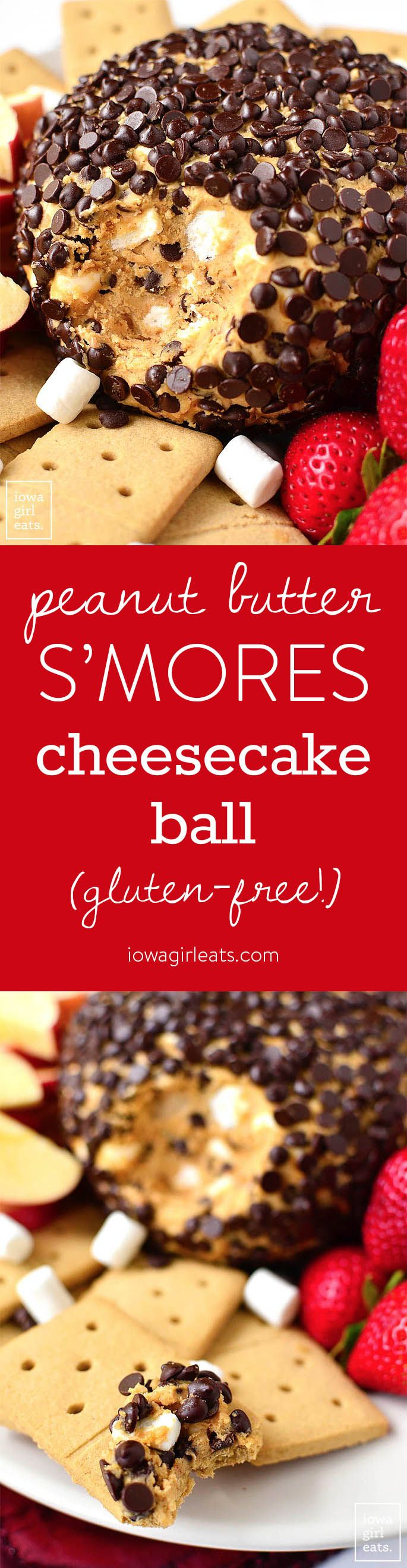 Peanut Butter S'Mores Cheesecake Ball is ridiculously delicious and decadent - the perfect gluten-free party treat for summer or any time of year!   iowagirleats.com