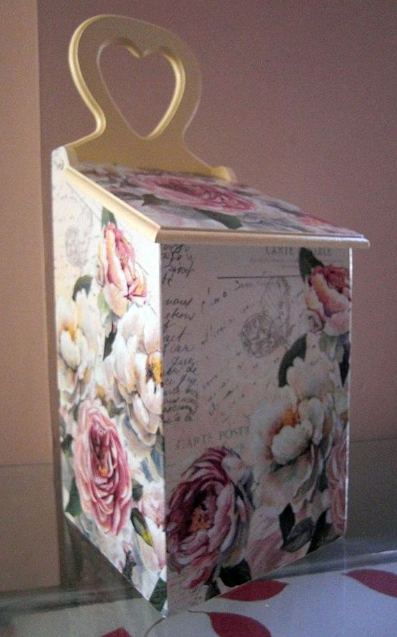 Vintage box Rose decorative vintage wood napkin by limaartdesign