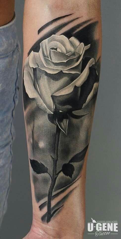 Black and white rose tattoo @evgeniy_goryachiy at @redberrytattoostudio @molokotattoostudio