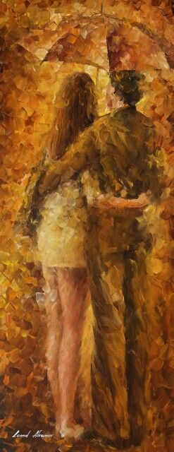 Hug Under The Rain - Palette Knife Oil Painting On Canvas By Leonid Afremov