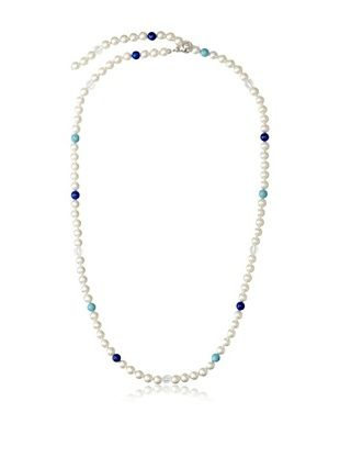 70% OFF Majorica Pearl, Turquoise & Lapis Adjustable Necklace