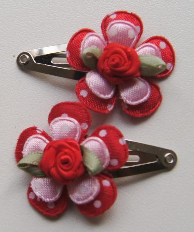 haarclipjes roze/rood
