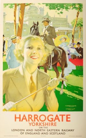 Harrogate Yorkshire LNER Horse Racing Art Deco 1930s - original vintage poster by Joseph Greenup listed on AntikBar.co.uk