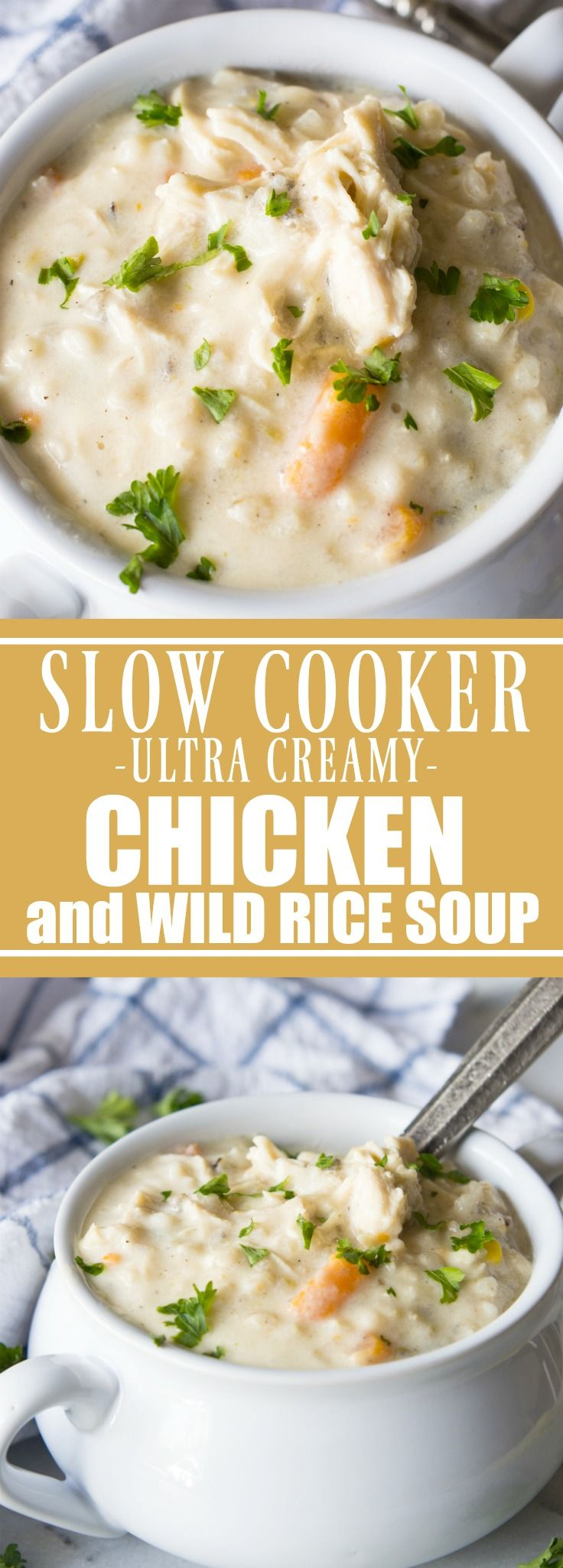 Slow Cooker Creamy Chicken and Wild Rice Soup!  This soup is ultra creamy, ultra flavorful, and best part?  There's no actual cream or butter used! This is the perfect lighter version of a classic comfort food.