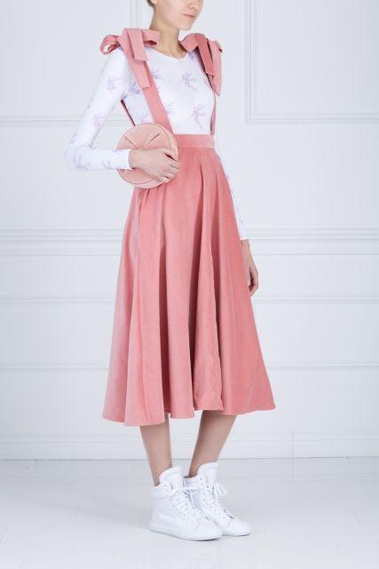 Бархатная юбка-сарафан LES' - Юбка-сарафан марки LES', выполненная из хлопкового бархата в интернет-магазине модной дизайнерской и брендовой одежды
