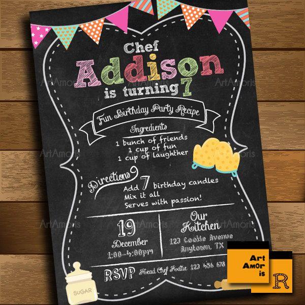 Baking Invitation, Birthday Invitation, Cooking Invitation, Little Chef Invitation, Chalkboard Recipe Bake Shop, Cookie Decorating Party R15 by ArtAmoris on Etsy https://www.etsy.com/listing/258474261/baking-invitation-birthday-invitation