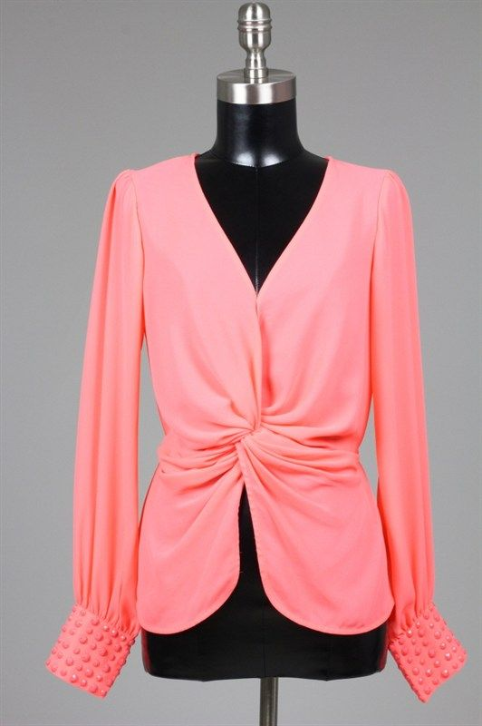 Twisted Chiffon long sleeve top in Coral and Black Color
