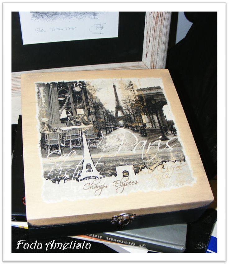 Caixa em madeira, Paris antigo - Decoupage https://www.facebook.com/FadaAmetista/photos/a.1592361051081362.1073741840.1589593488024785/1591575204493280/?type=3&theater