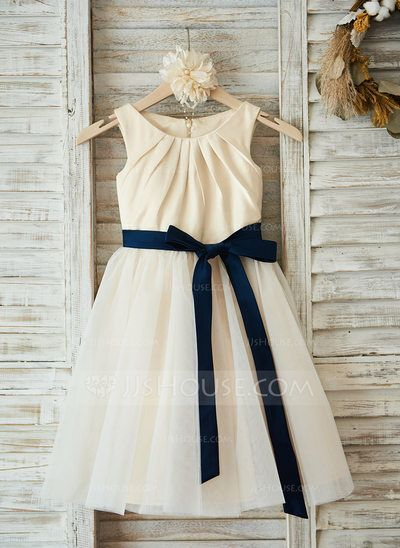 [US$ 59.99] A-Line/Princess Knee-length Flower Girl Dress - Satin/Tulle Sleeveless Scoop Neck With Sash/Pleated