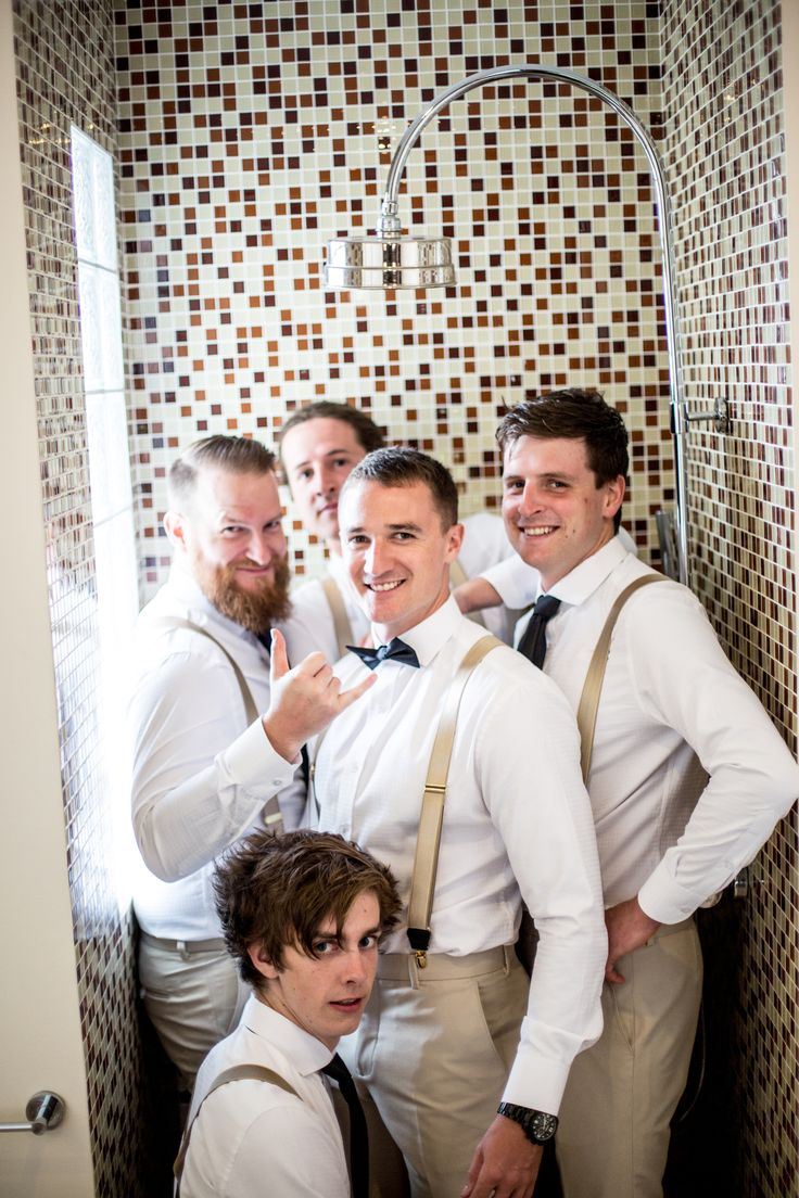 Gold braces add the perfect touch of class to groomsmen trousers tailored right here in Hoi An. #HoiAnEvents
