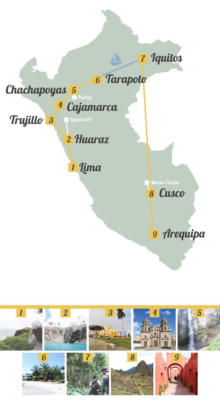 Peru Route Kosten Fur Eine Individuelle Rundreise Eine Fur Individuelle Kosten Map Peru Peru Travel Beautiful Places Backpacking Peru Peru Travel
