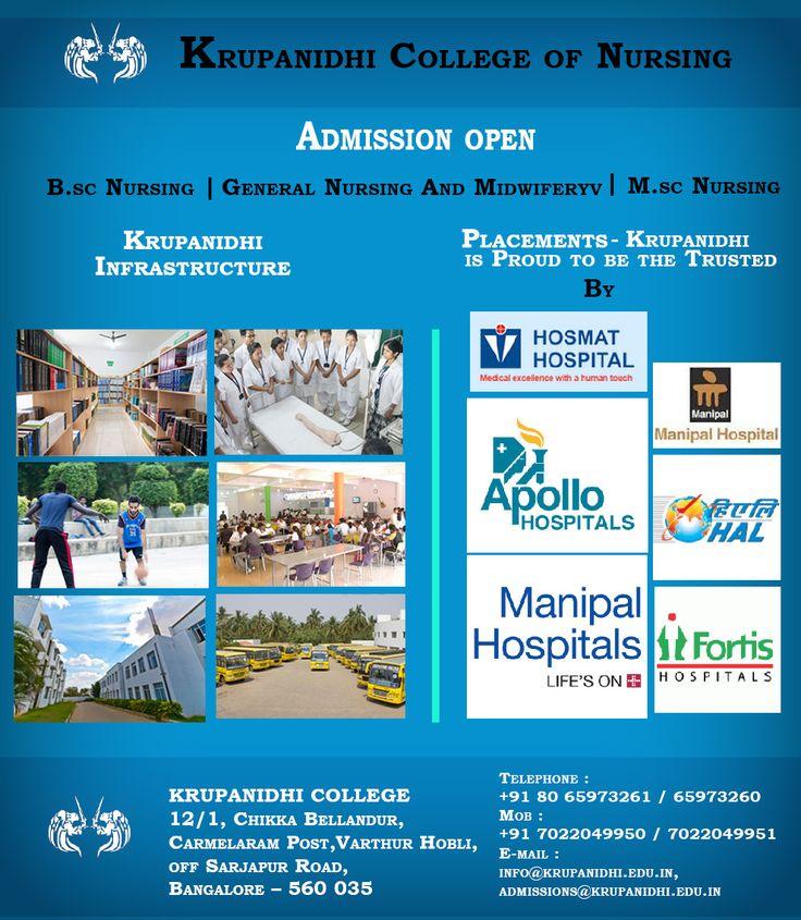 "#NURSING #AdmissionsOpenNow #BestNursingCollegeinBangalore  ""ADMISSIONS OPEN FOR 2017"" NURSING COURSES offered by the top Nursing College in Bangalore  ""Join KRUPANIDHI COLLEGE OF NURSING""  #GuaranteedPlacements  #KrupanidhiGroupofinstitution"