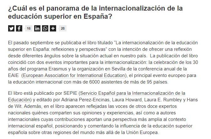 Internacionalización de la educación superior en España / @universidad_si   #readyforhighereducation