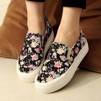 Zapatos de lona de la marca estampado floral para las mujeres zapatillas de deporte de la plataforma , resbalón en los zapatos de mujer zapatillas de deporte 2014