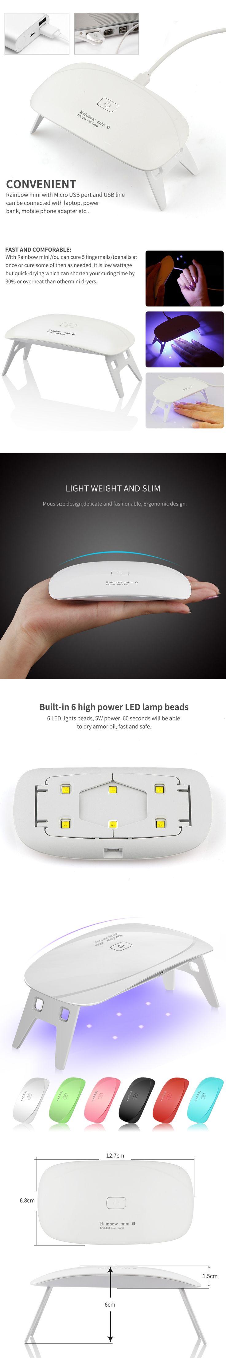 5W LED UV Nail Dryer Curing Lamp Light Portable for LED UV Gel Nail Polish USB Cable Nail Art Manicure Pedicure Home Use 6 Color