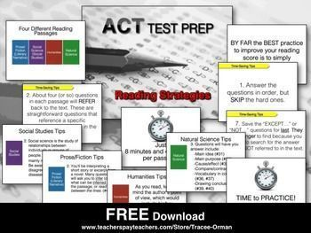 ACT READING STRATEGIES TEST PREP FREE - TeachersPayTeachers.com