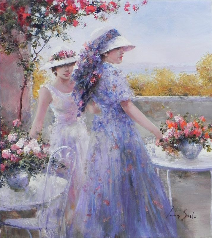 Lucia Sarto  (b.1950)  —   Gathering Flowers (714x800)