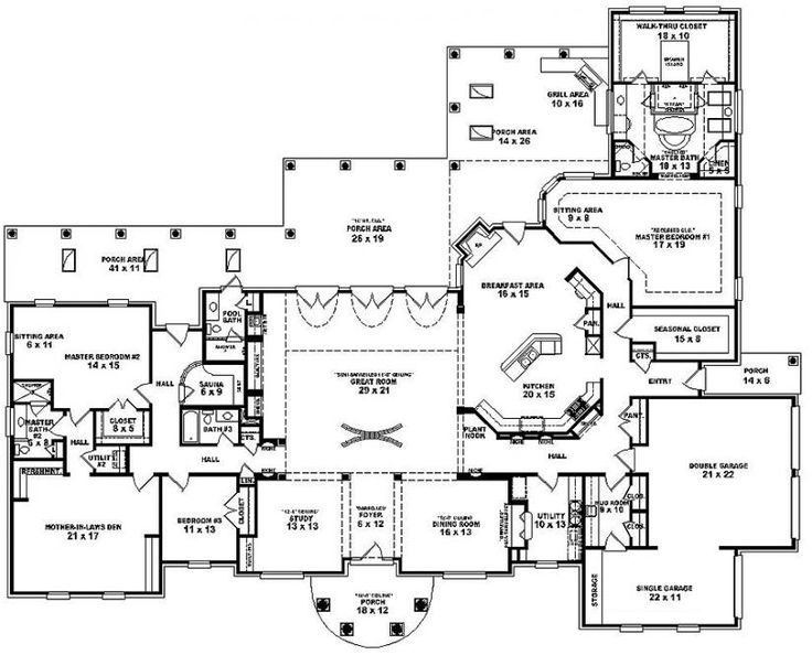 One Story 3 Bedroom, 4 Bath Mediterranean Style House Plan : Houseu2026