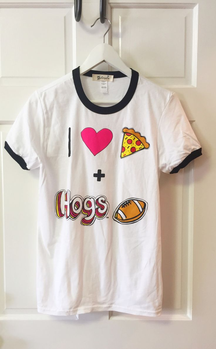I Heart Hogs Football White & Black Ringer Tee