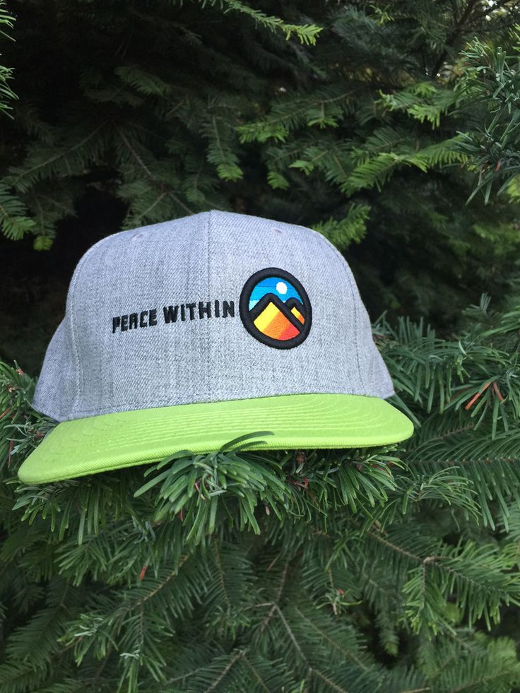 Peace Within FLat brim snap back hat gray/electric green mtn logo