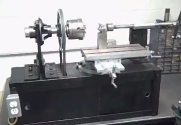 Benchtop Lathe by laurenandrewr -- Homemade benchtop lathe constructed from steel and utilizing a commercially available X-Y table. http://www.homemadetools.net/homemade-benchtop-lathe-2