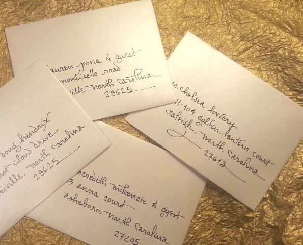 Petite Contempo Writing Style On Shimmer Envelopes