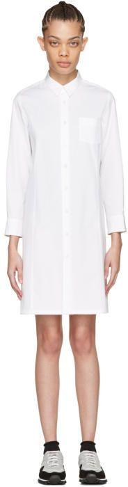 Comme des Garcons White Poplin Shirt Dress