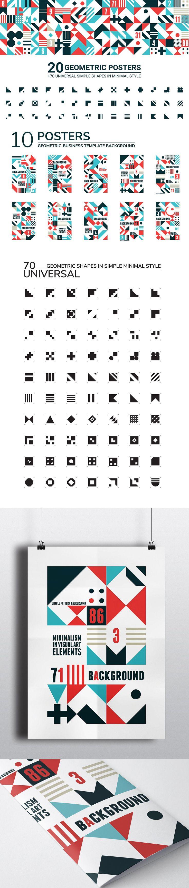 #Freebies : 20 original posters in minimalist swiss style and 70 geometric elements. #Geometric #posters consist of easy editable blocks. ( #creative #designtrend #webdesign #print #inspiration #packaging #branding )