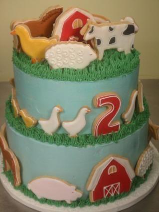 Barnyard cake by Jeri GottliebFarms Birthday, Cake Cookies, Cookie Cakes, Birthday Parties, Cookies Cake, Fourth Birthday, Barnyard Birthday, Birthday Ideas, Birthday Cakes