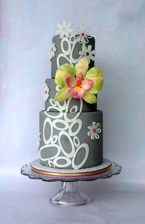 Grey Cake with Orchid