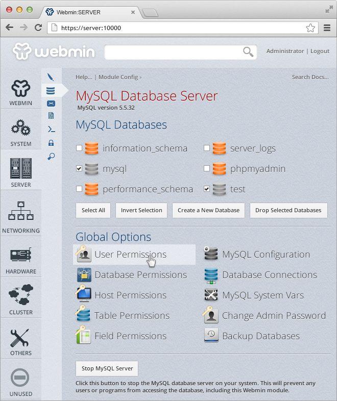 Webmin Servemin Theme (MySQL Home)