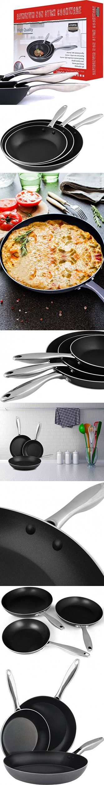 Utopia Kitchen Professional Oven Safe Nonstick 8 Inch, 9.5 Inch & 11Inch Frying pan Cookware Set, Dishwasher Safe, 3 Piece (3 Piece Frying Pan - Stainless Steel Handle)